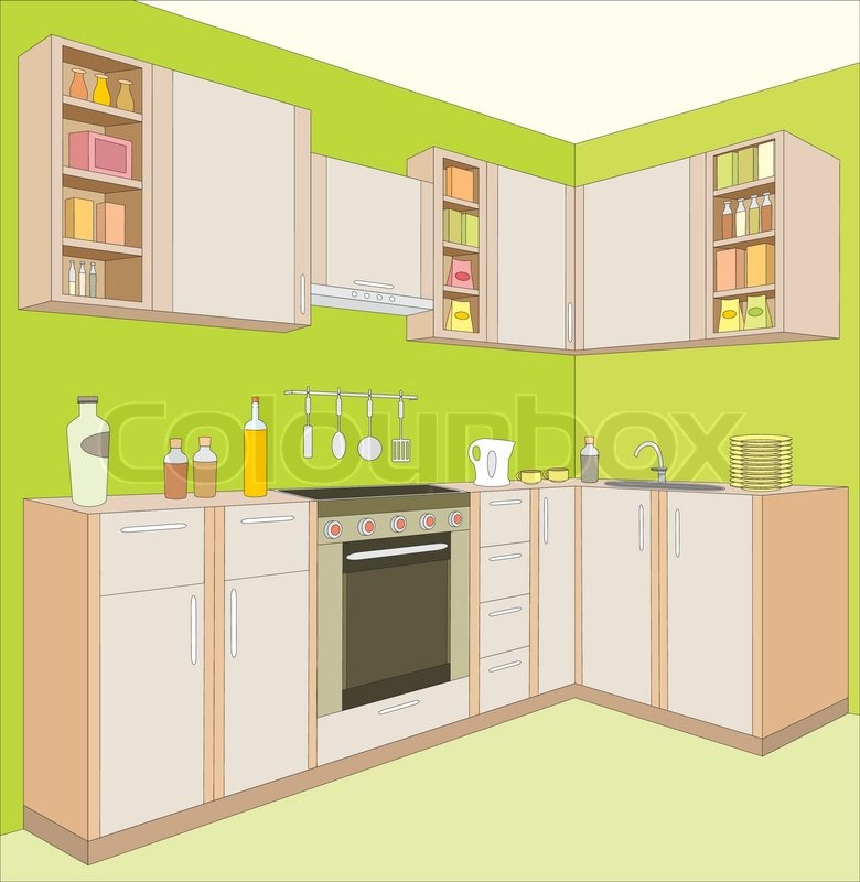 Luxury Kitchen Room Interior Bright Wooden Stock Vector: Kitchen Furniture Interior