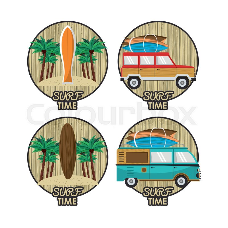 6420bbd2d7 Surf time cartoon icon set with ...