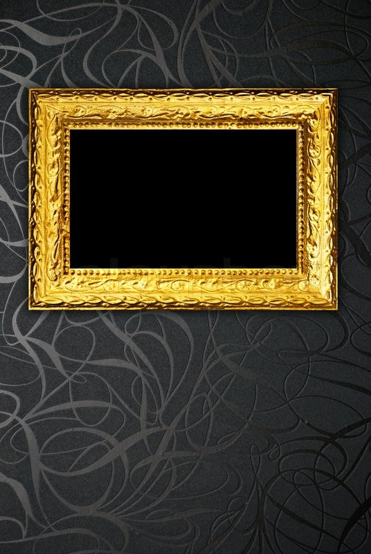 Gold Frame On Black Vintage Wallpaper Stock Photo Colourbox