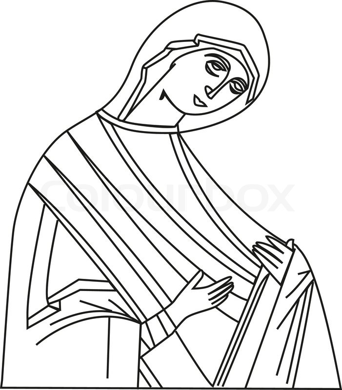 Line Drawing Virgin Mary : Vector illustration of virgin mary stock colourbox