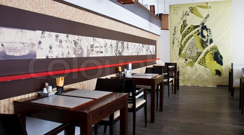Japanese restaurant interior stock photo colourbox for Modern house sushi 9 deler sett