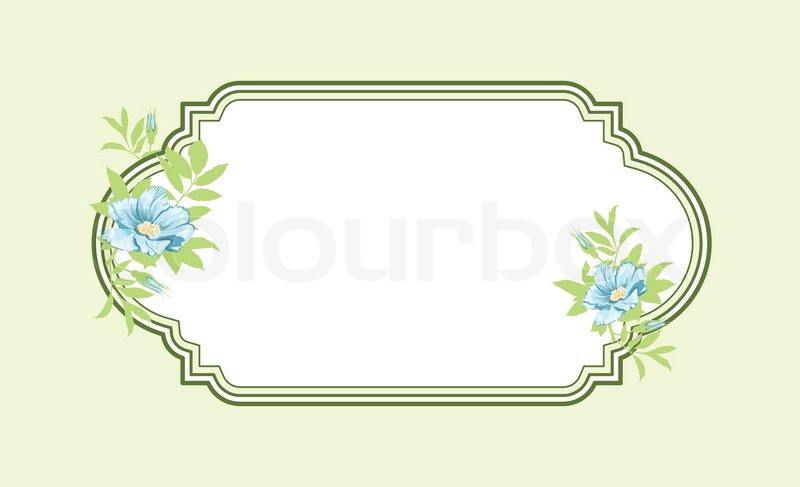 Classic Hand Drawn Oval Green Frame With Light Blue Flowers