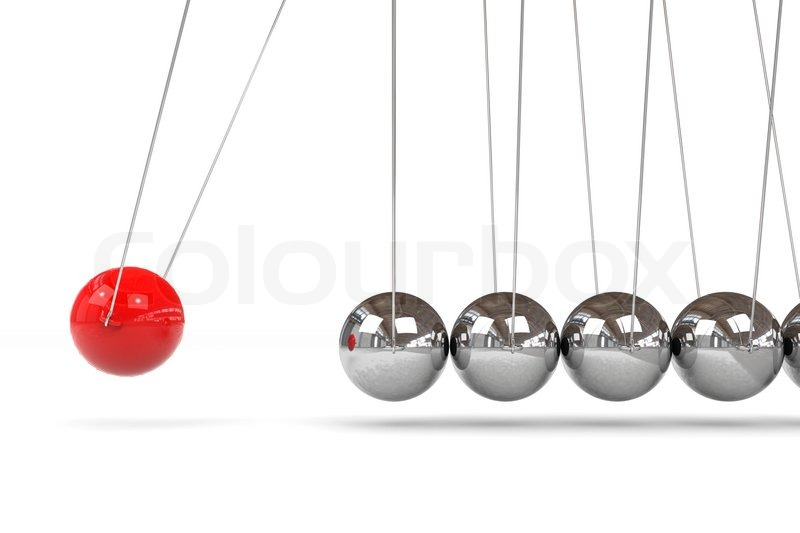 newton cradle with one red ball stock photo colourbox