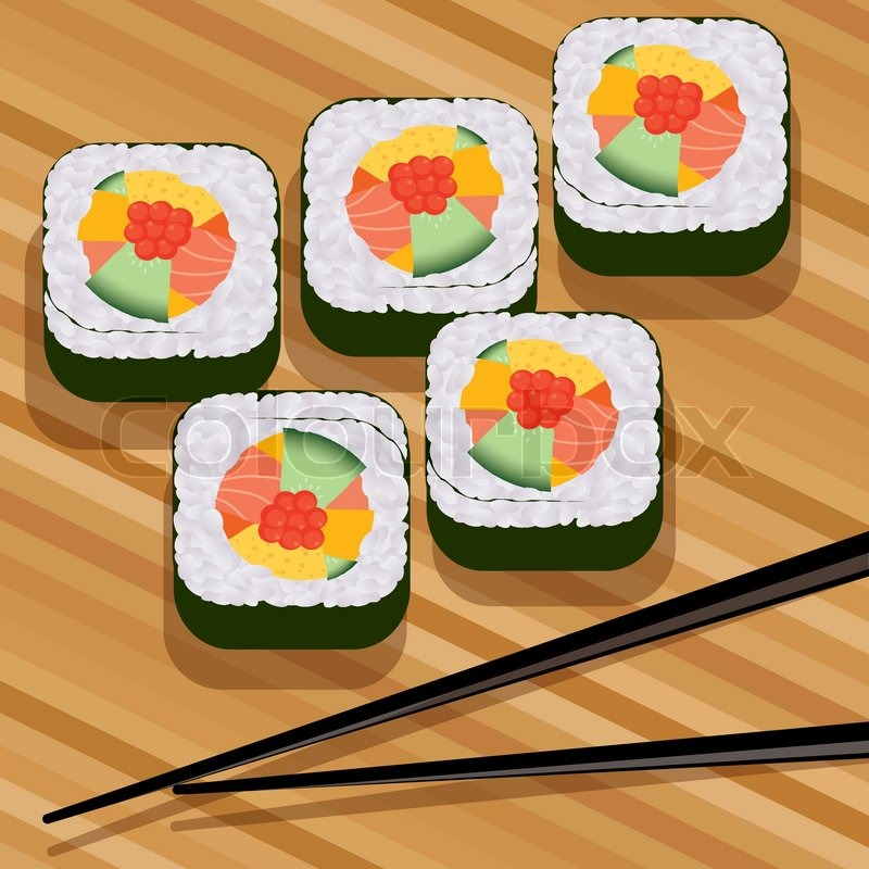 Vector Sushi On Bamboo Mat And Stock Vector Colourbox