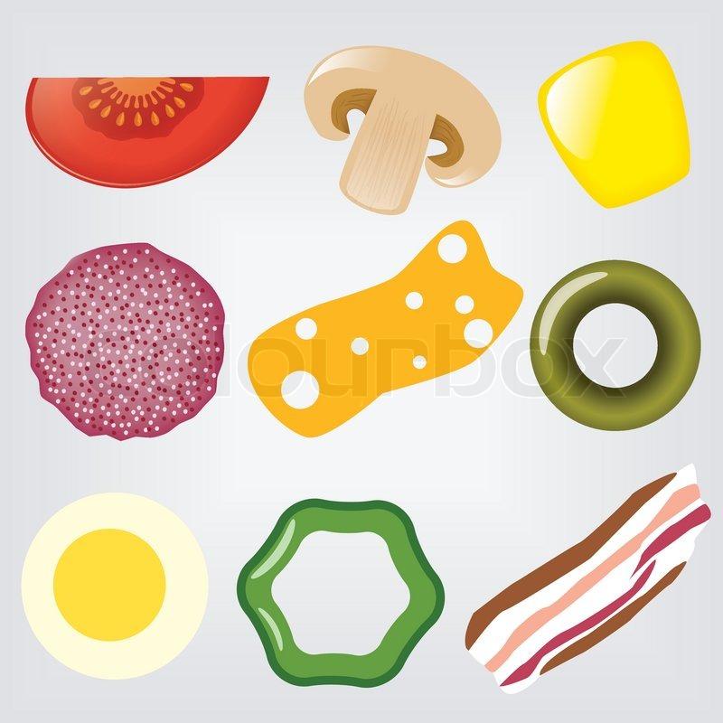 Pizza Ingredients Stock Vector Colourbox