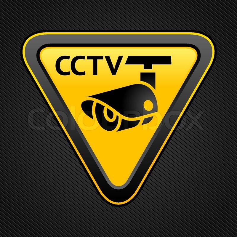 Cctv Triangle Sign Stock Vector Colourbox