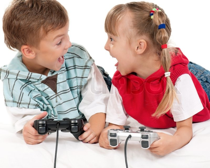 Happy Girl And Boy Playing A Video Game Stock Image Colourbox
