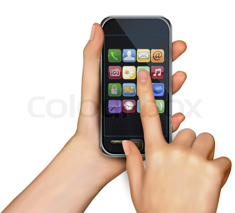 A hand holding touchscreen mobile phone with icons vector for Telephone portable a touches