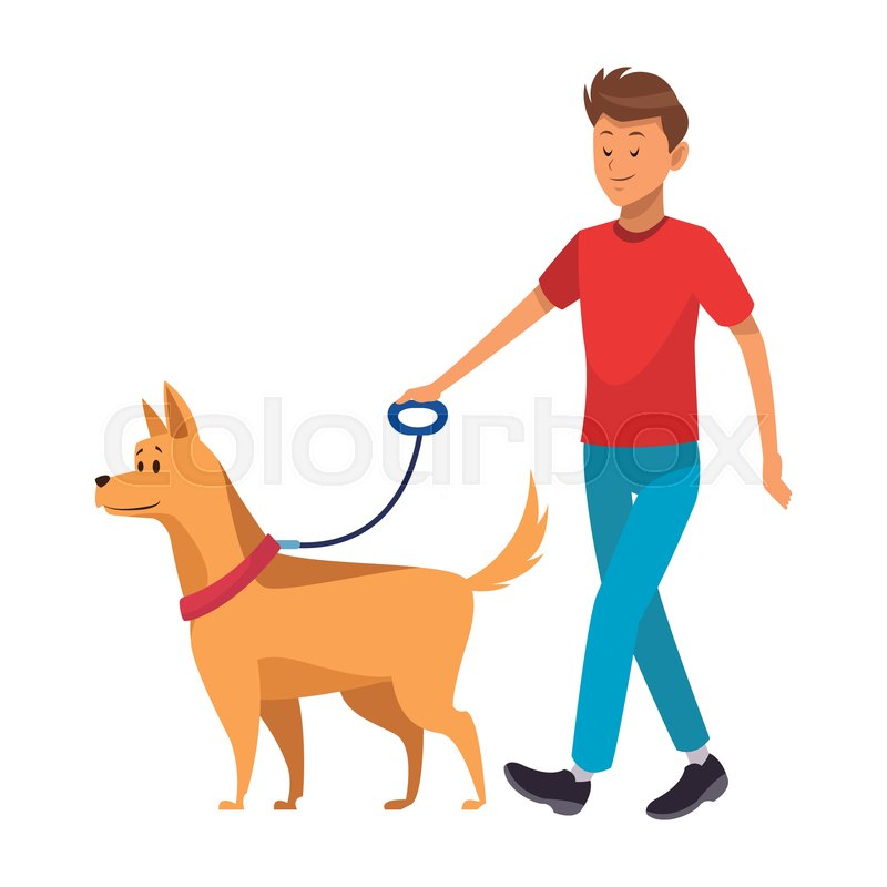 man and dog taking a walk vector stock vector colourbox man and dog taking a walk vector