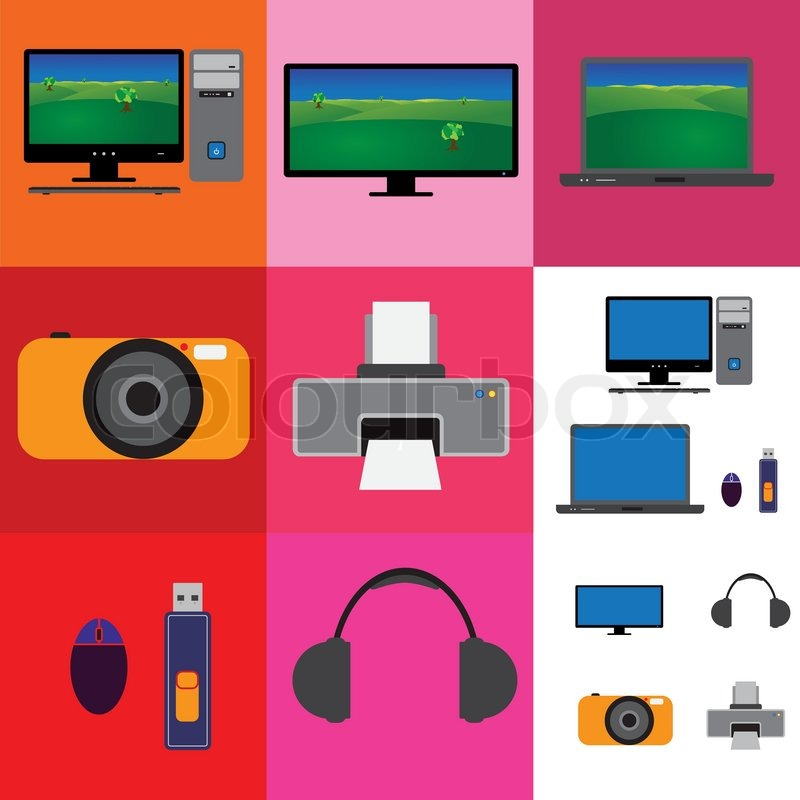 Electronic Gadgets Collage Television Computer Set And