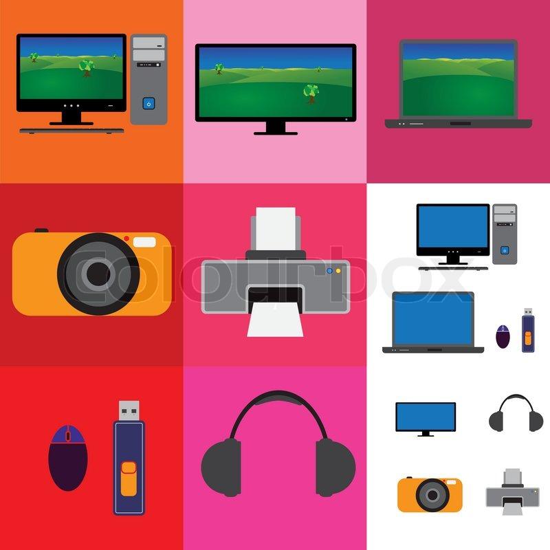 elektronische ger te collage fernseher computer set und. Black Bedroom Furniture Sets. Home Design Ideas