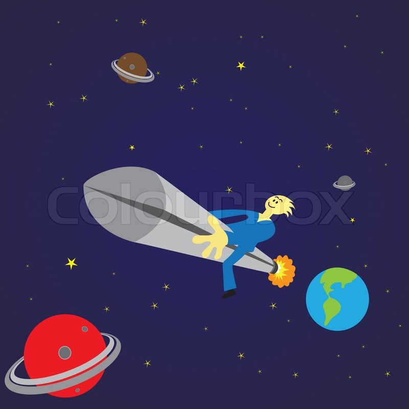 Man travelling in outer space in a rocket stock vector for Jobs in outer space