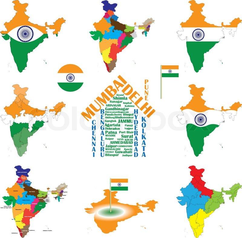 Kort Over Indien Indisk Byer Stater Stock Vektor Colourbox