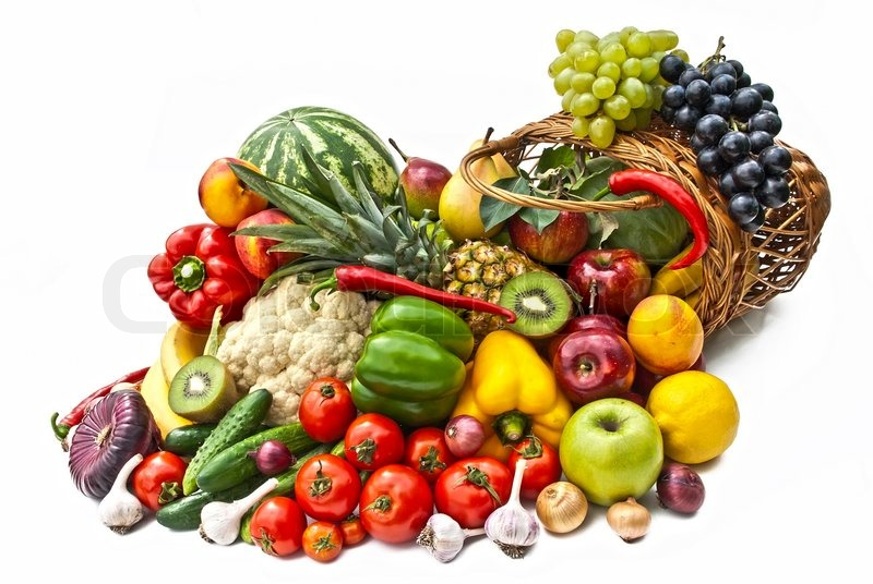 The Group Of Vegetables And Fruits In Bascet Stock Photo