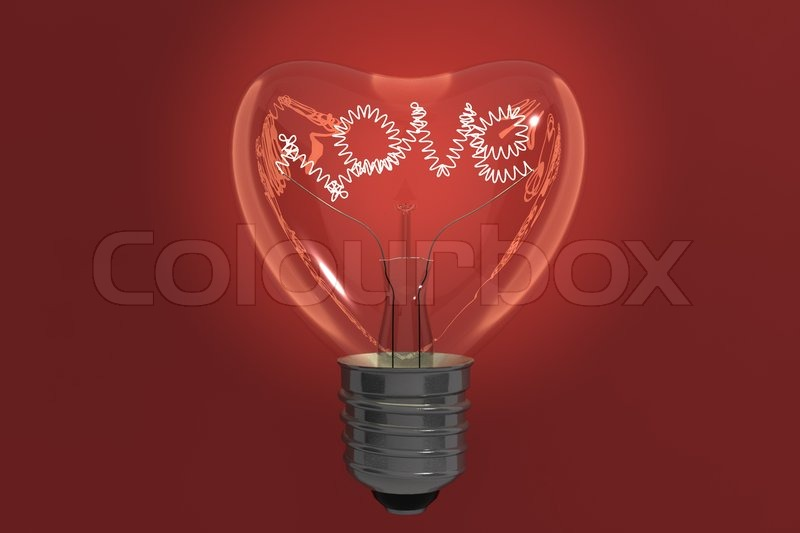 Beautiful Heart Shape Lamp Bulb On Red Background Valentine Day Concept, Stock Photo Photo Gallery