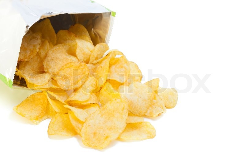bag of potato chips isolated on white stock photo
