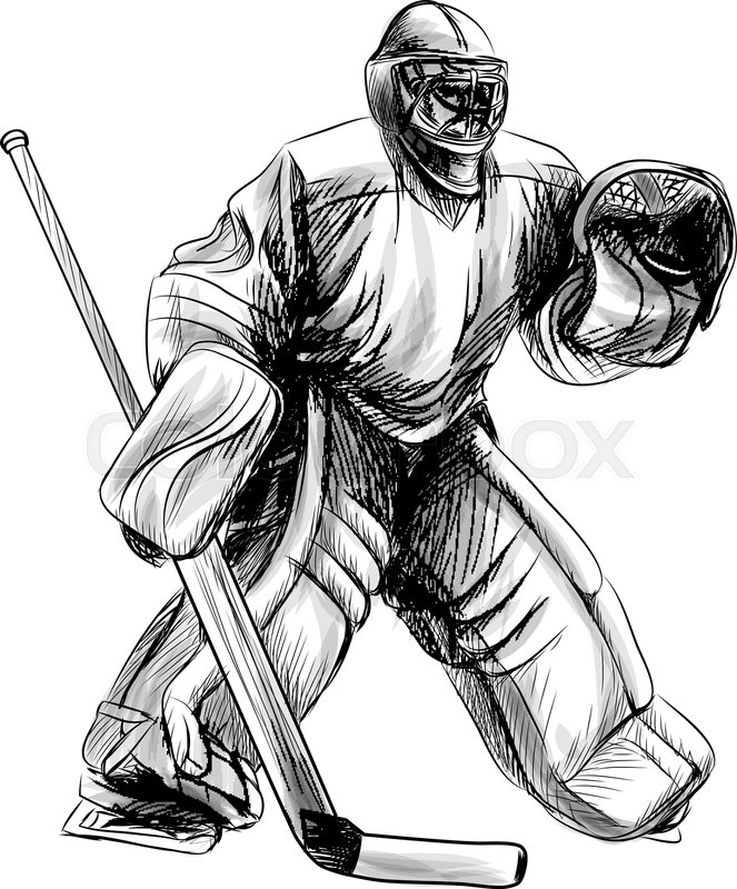 Hockey Goalie Player Hand Drawn Stock Vector Colourbox