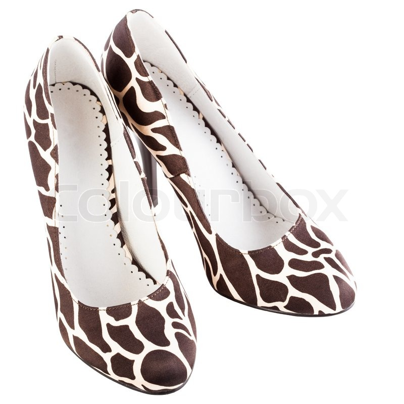 ef9c046f03 Giraffe print high shoes on a white ... | Stock image | Colourbox