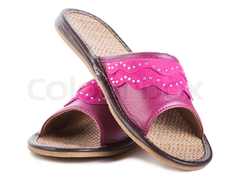 a pair of pink house slippers stock photo colourbox