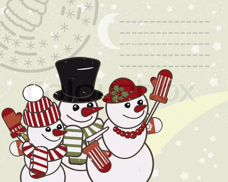 retro christmas card with the snowmen family stock vector colourbox