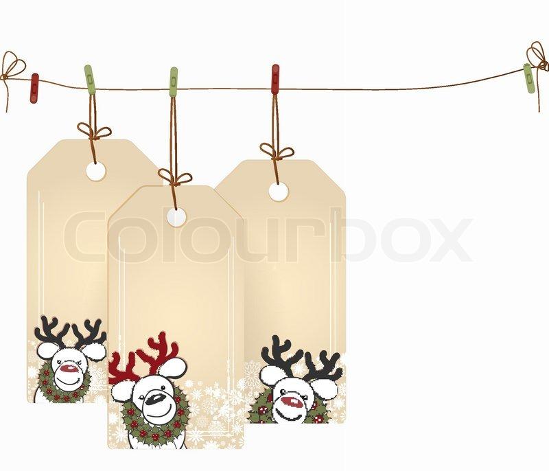 christmas tags mit elementen des weihnachts dekor. Black Bedroom Furniture Sets. Home Design Ideas