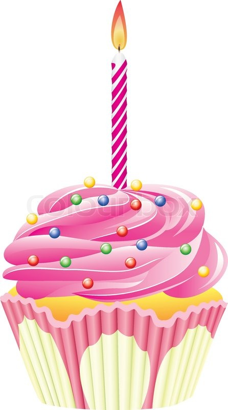 Vector Cupcake With Burning Candle And Sprinkles Stock