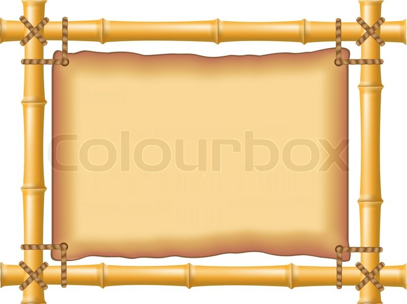 Frame made of bamboo and old parchment stock photo