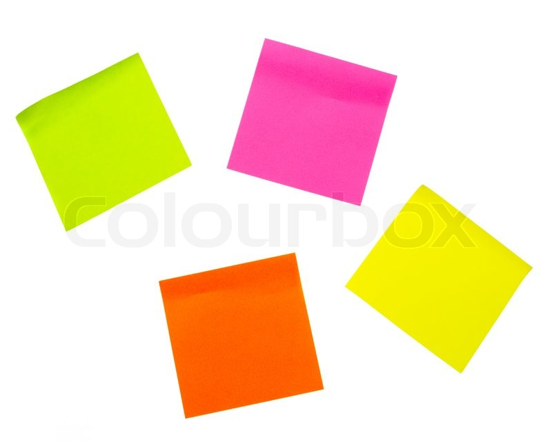Colorful paper note stickers stock photo colourbox
