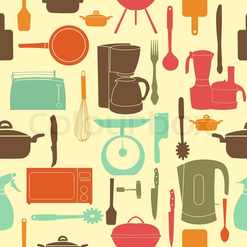 Vector of 'vector illustration seamless pattern of kitchen tools