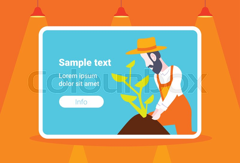 d8968942 Bearded gardener planting young plant ... | Stock vector | Colourbox