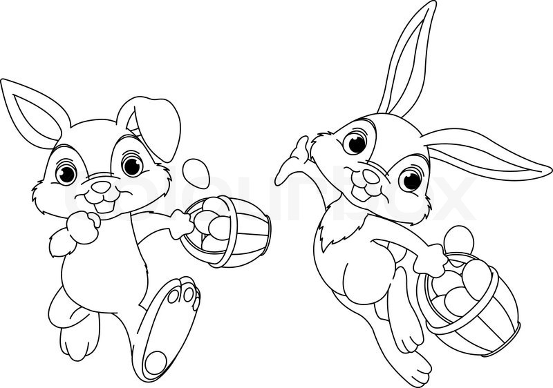 bunny hiding eggs malvorlagen  vektorgrafik  colourbox