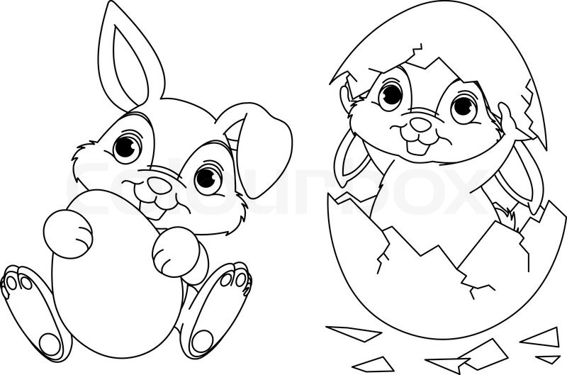 black and white easter bunny coloring page stock vector colourbox