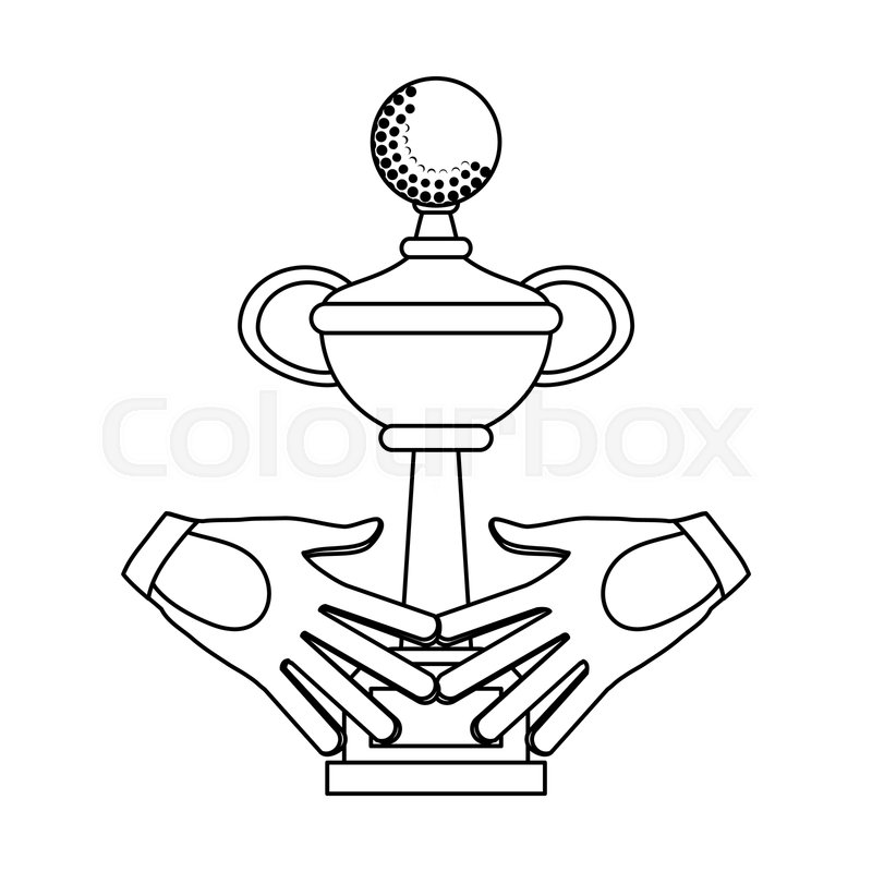 Sport Trophy Cup And Golf Gloves Stock Vector Colourbox