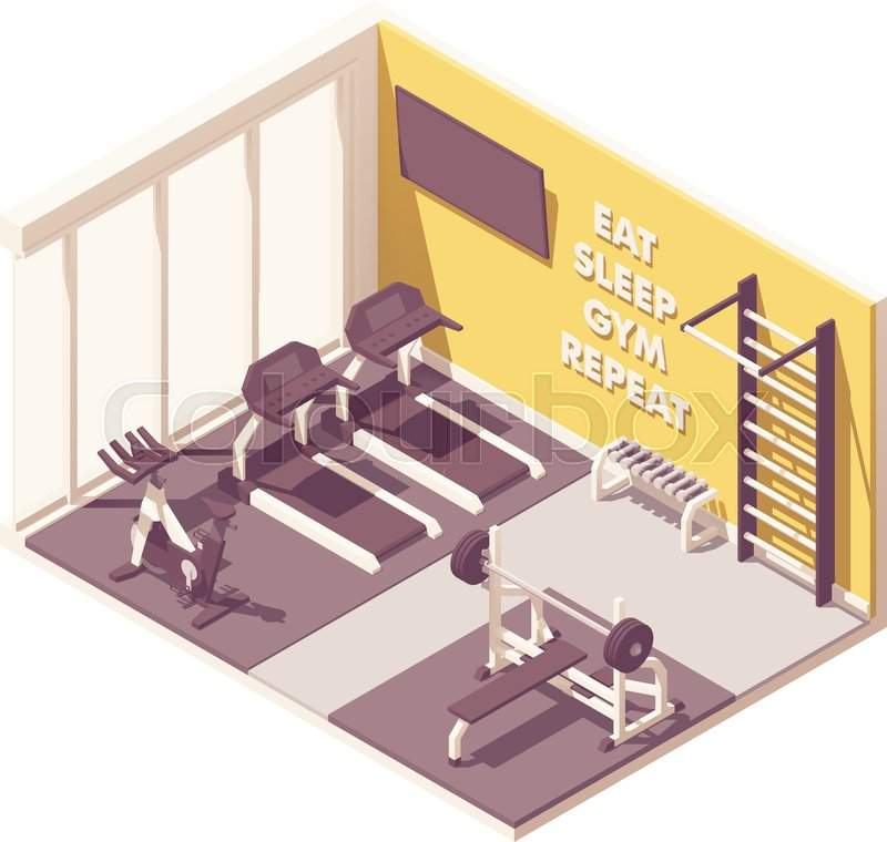 Fitness people training inside gym scenery vector illustration