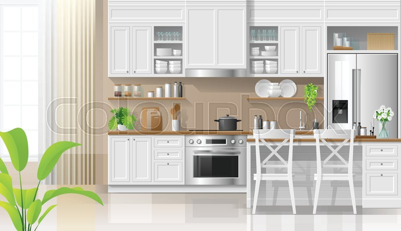 Interior background with kitchen in ...