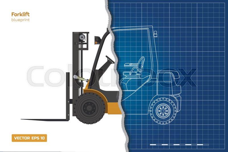 Outline blueprint of forklift  Top,       Stock vector
