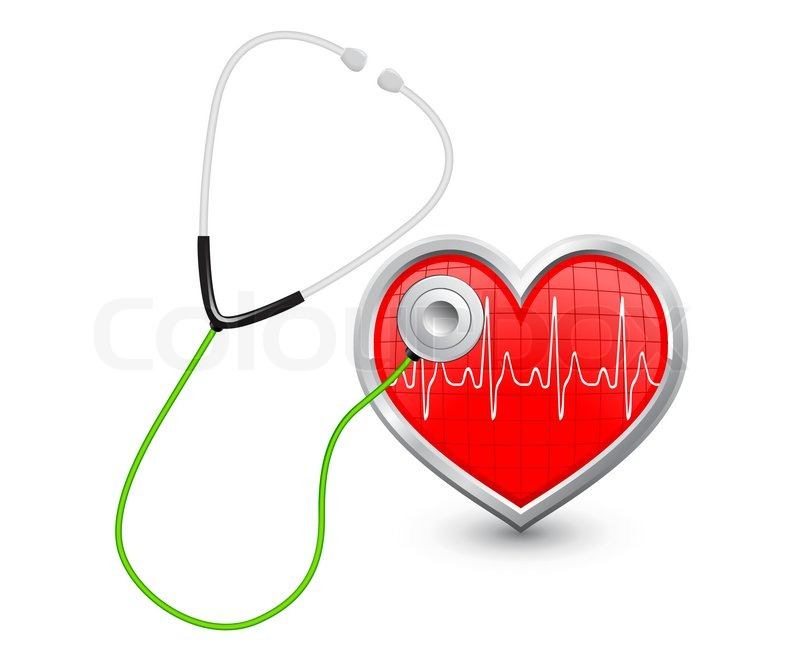 Stethoscope Listens To The Heart With A Diagram Stock Vector