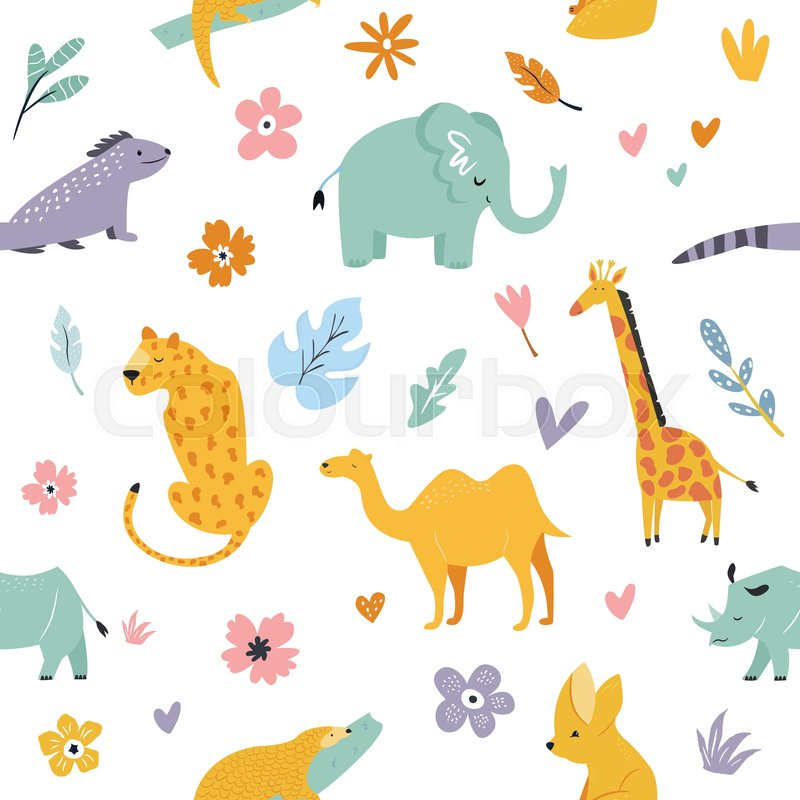 seamless pattern with african animals   stock vector