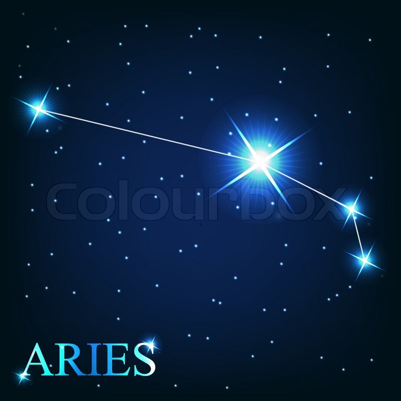 Vector of the aries zodiac sign of the beautiful bright stars on the ...