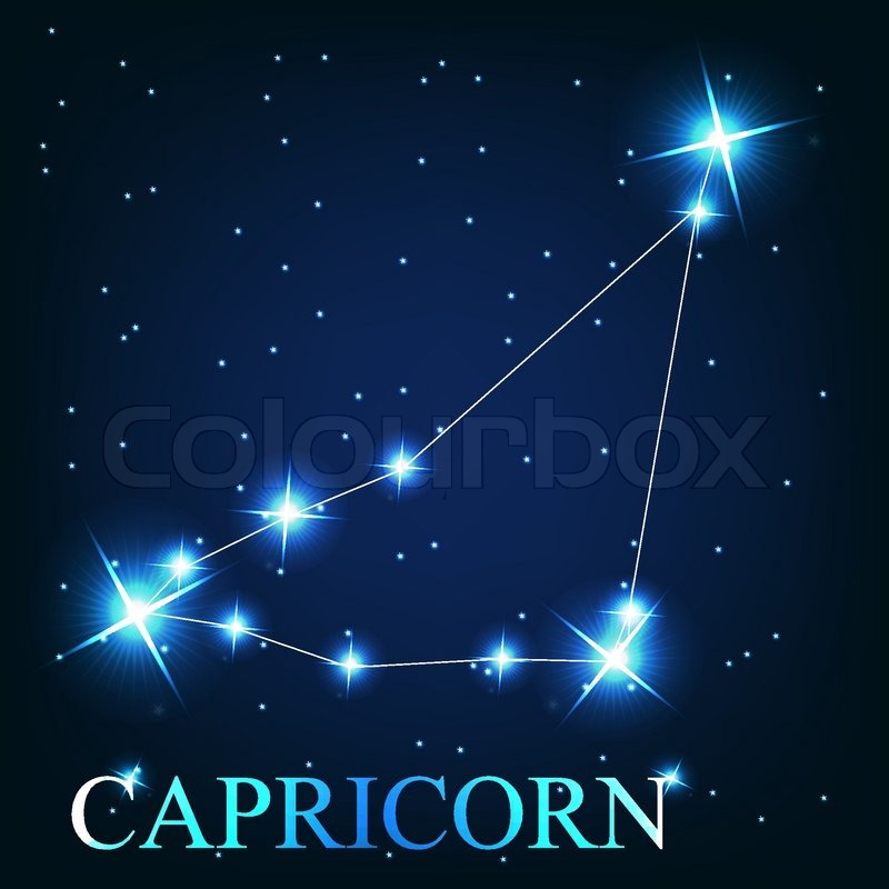 vector of the capricorn zodiac sign of the beautiful bright stars on the background of cosmic