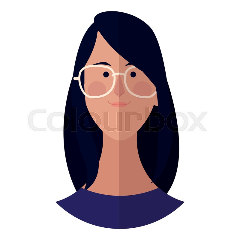 Woman With Glasses Face Cartoon Stock Vector Colourbox