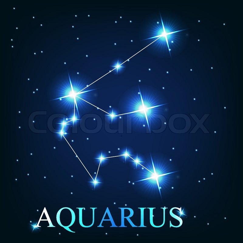 Vector Of The Aquarius Zodiac Sign Of The Beautiful Bright Stars On