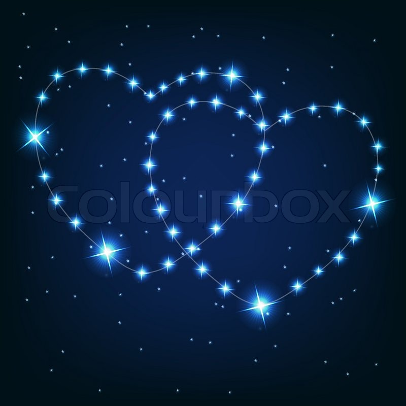 Two love heart from beautiful bright stars on the ...