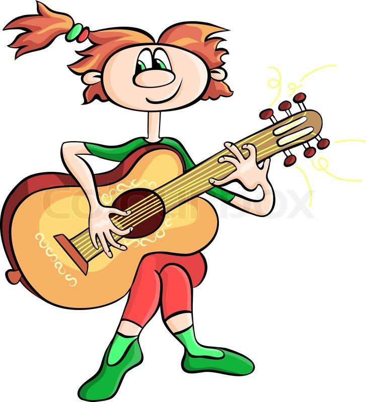 Kid N Play Cartoon Characters : Vector cartoon girl playing the guitar stock