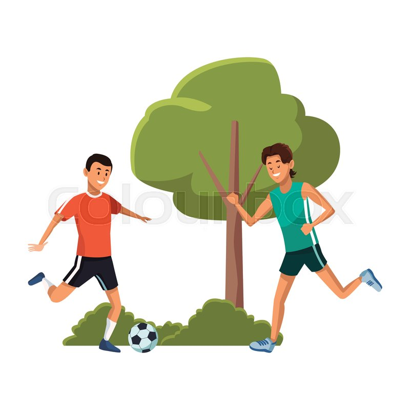 Friends Young Men Playing Soccer In Stock Vector Colourbox The cartoon was created during the silent movie era as a short that was shown before movies. friends young men playing soccer in