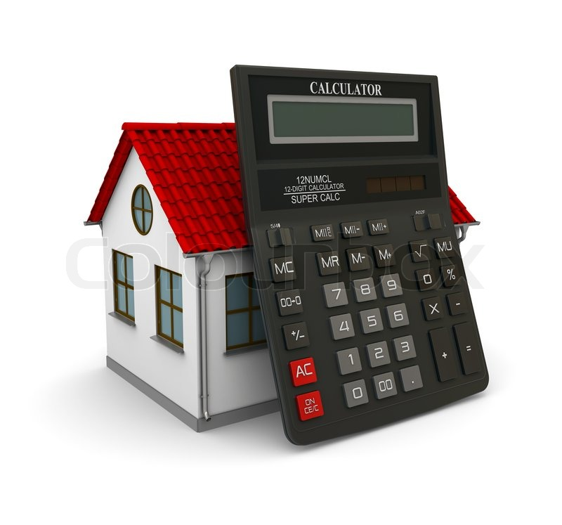 Stock image of 'Calculator leaned on a little house with red roof'