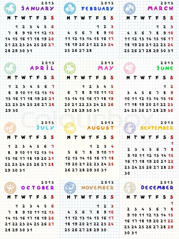 Stock vector of '2013 calendar with zodiac signs'