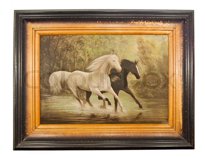 Tne picture Two horses in old frame | Stock Photo | Colourbox