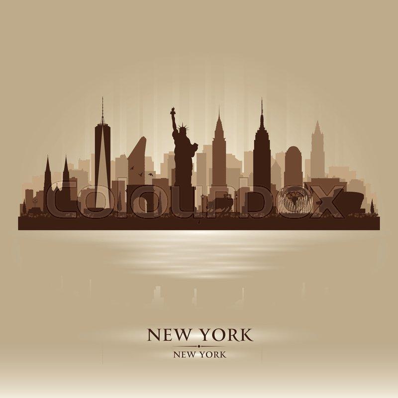 New York City Skyline Vector Stock Vector Colourbox