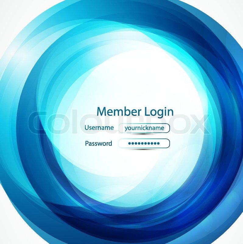 blue swirl login page stock vector colourbox